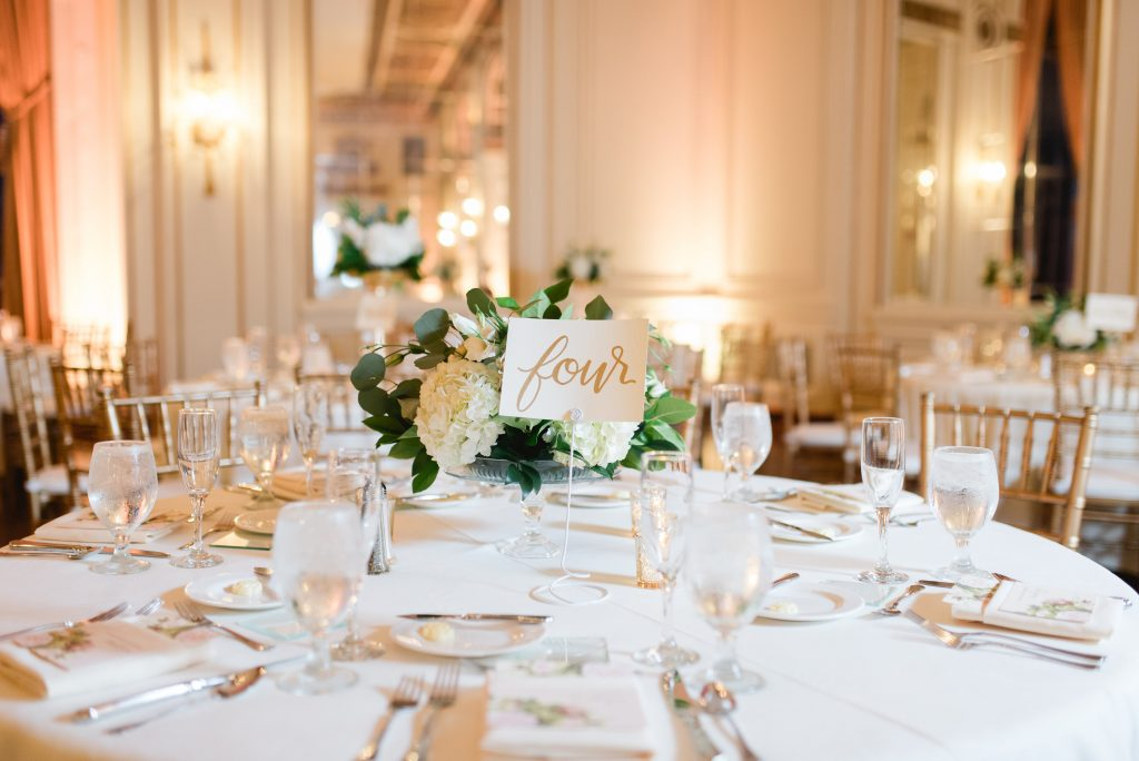 Leah E Moss - table number at a wedding