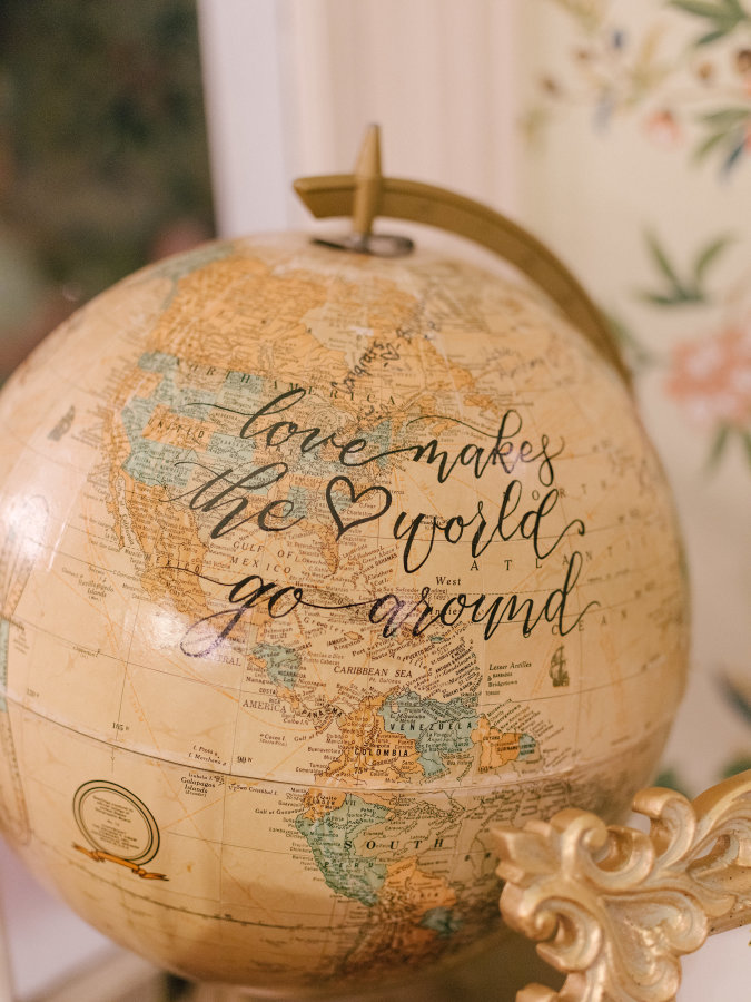 Leah E Moss - globe guest book with calligraphy