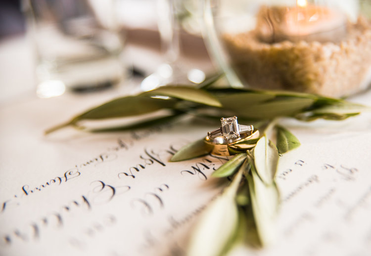 Leah E Moss - wedding rings with calligraphy
