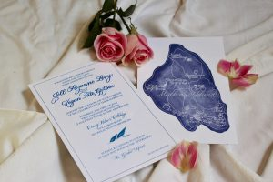 Blue Floral Invitation with Illustrated Map Back