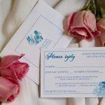 Blue Floral Invitation RSVP Card