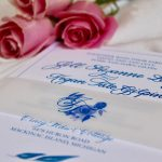 Blue Floral Invitation Vellum Belly Band