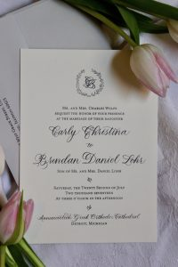 Grey and Cream Invitation with Ribbon with Crest