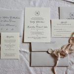 Custom Cream Invitation Suite with Ribbon