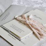 Custom Cream Invitation with Ribbon