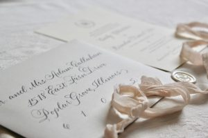 Grey Wedding Invitation and Envelope