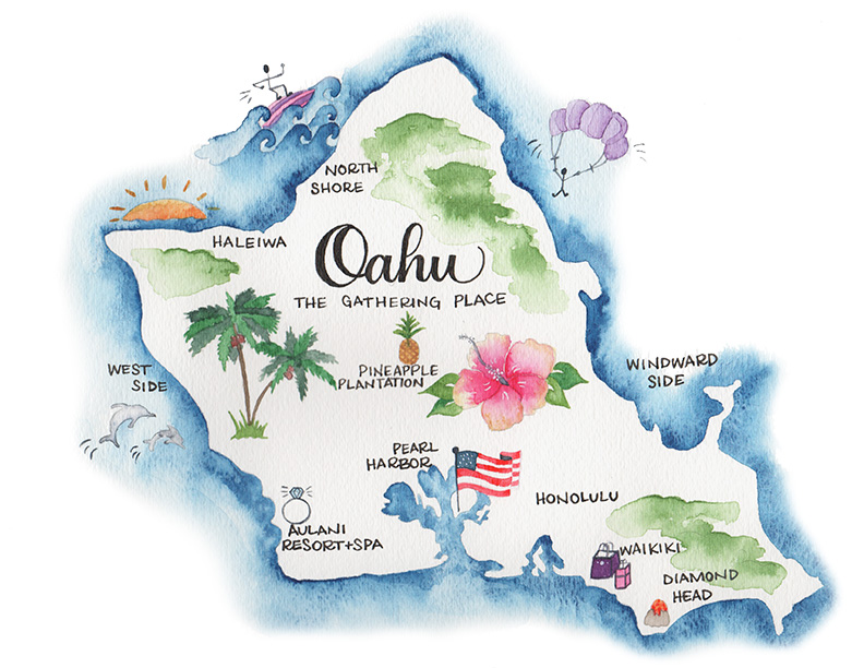 Leah E Moss - watercolor illustrated map of oahu, hawaii