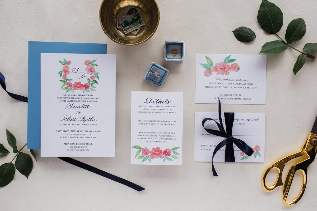 flat lay invitation suite
