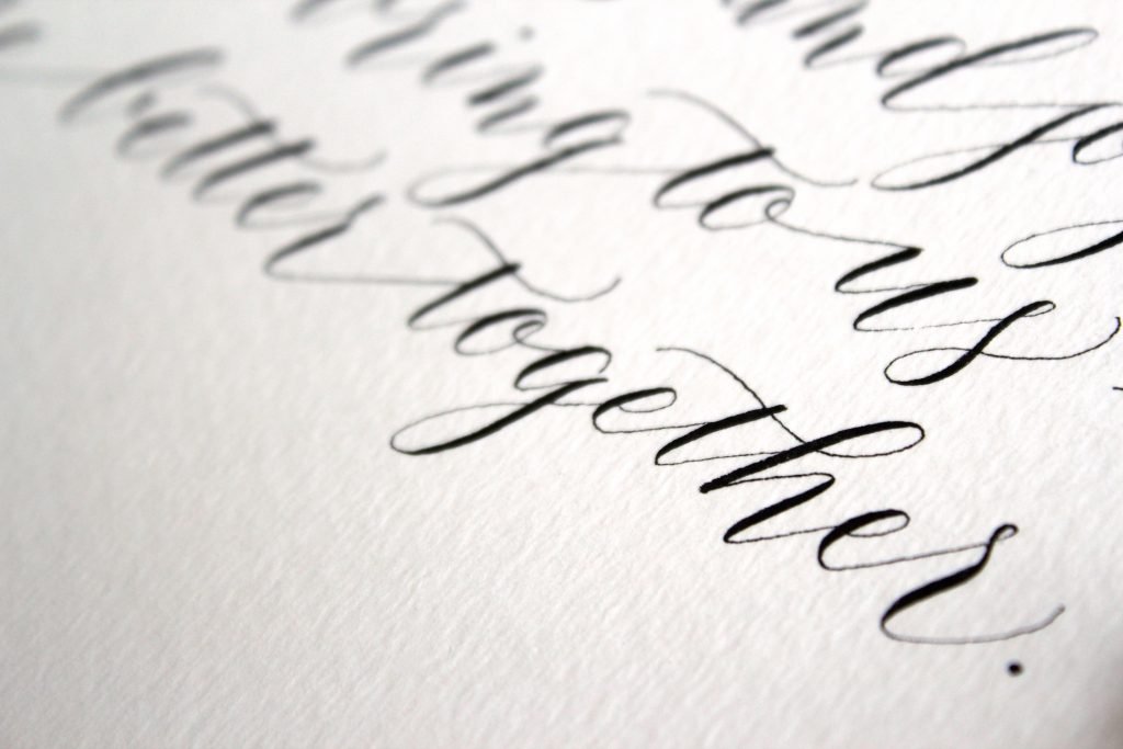 Leah E Moss - wedding vows in modern calligraphy