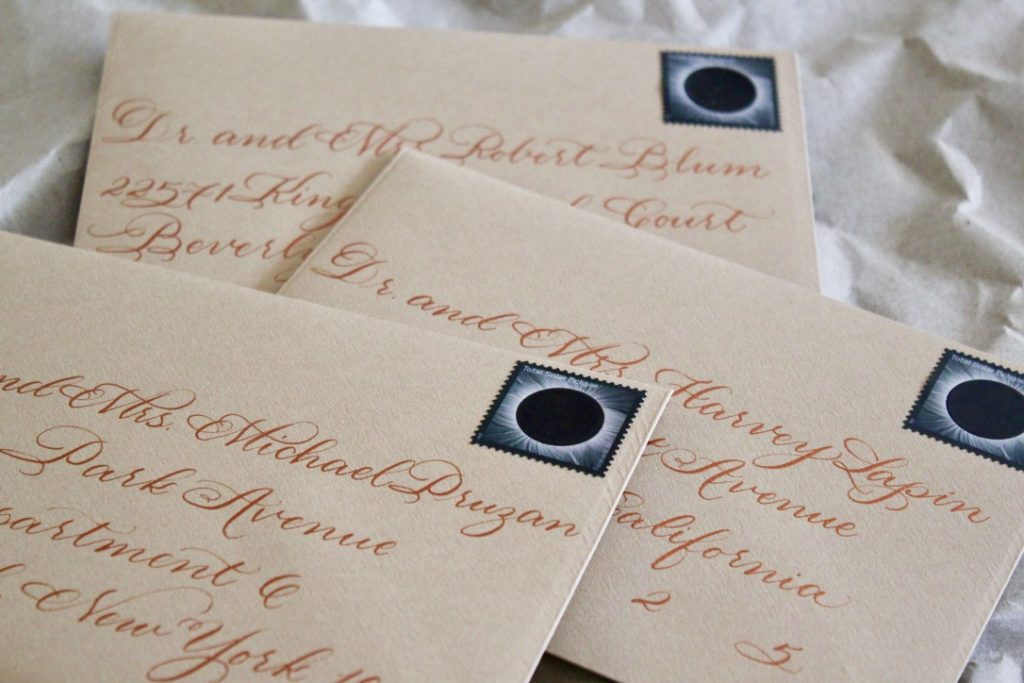 Leah E Moss - natural envelope with copper calligraphy