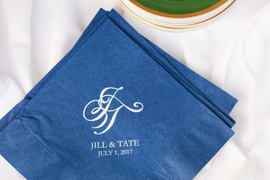 Leah E Moss - cocktail napkins with monogram