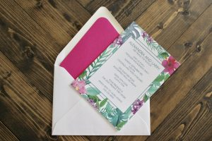 tropical invitation for engagement pool party