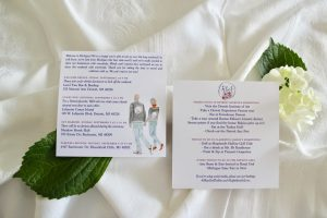 hotel welcome note for wedding with portrait illustration