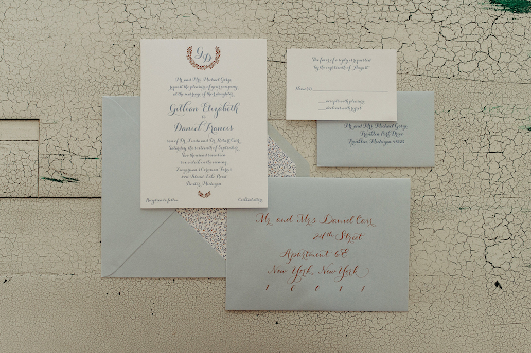 Farmhouse Chic Wedding - blue letterpress invitation - Leah E Moss