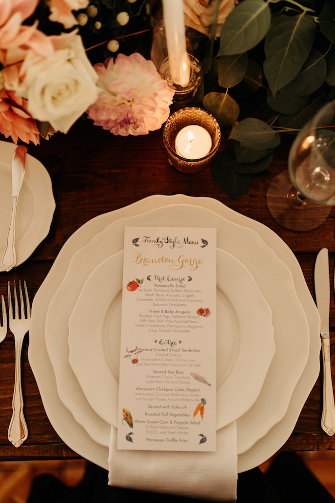 Farmhouse Chic Wedding - illustrated menu - Leah E Moss