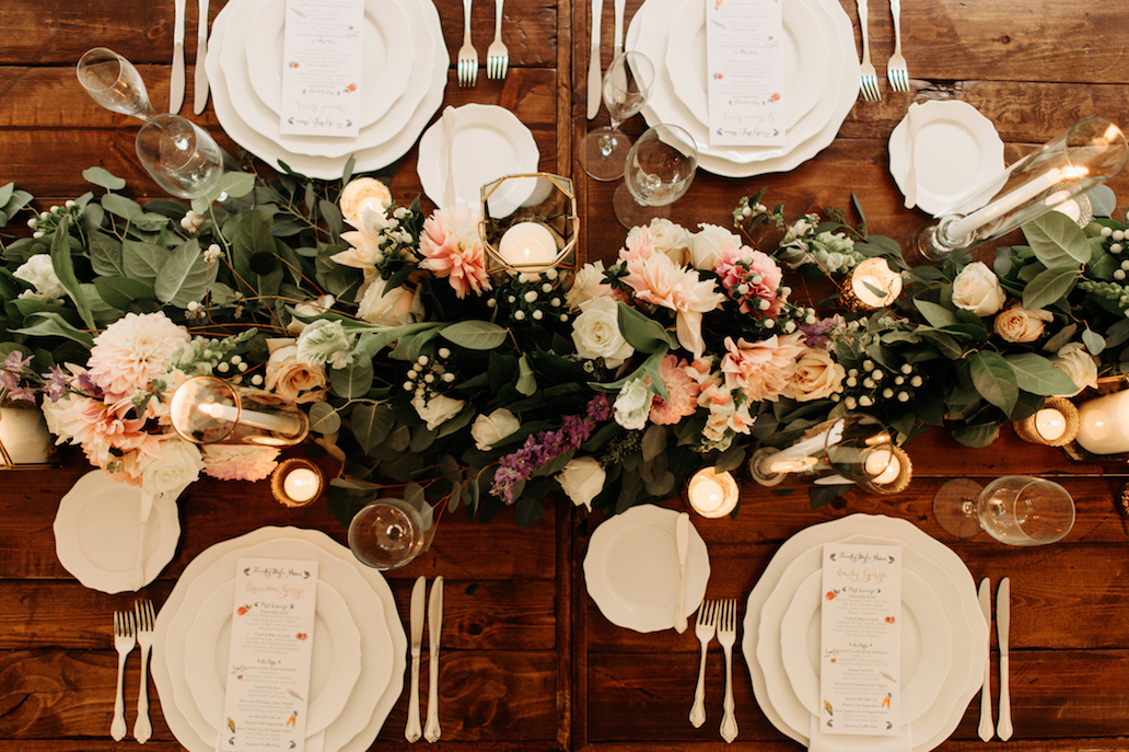 Farmhouse Chic Wedding - floral with fruit - Leah E Moss