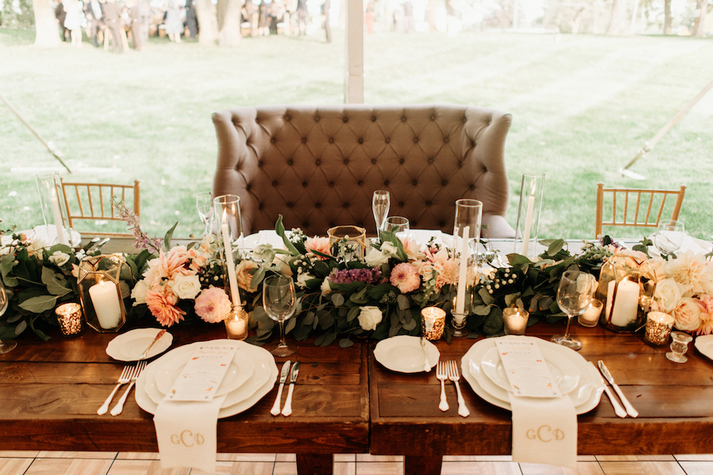 Farmhouse Chic Wedding - sweetheart seating - Leah E Moss