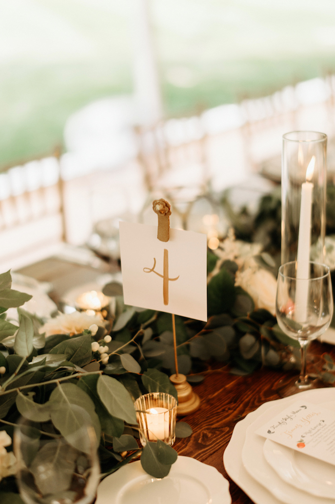 Farmhouse Chic Wedding - hand lettered table number - Leah E Moss