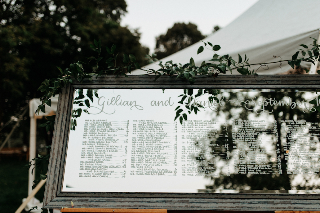 Farmhouse Chic Wedding - mirror seating chart - Leah E Moss