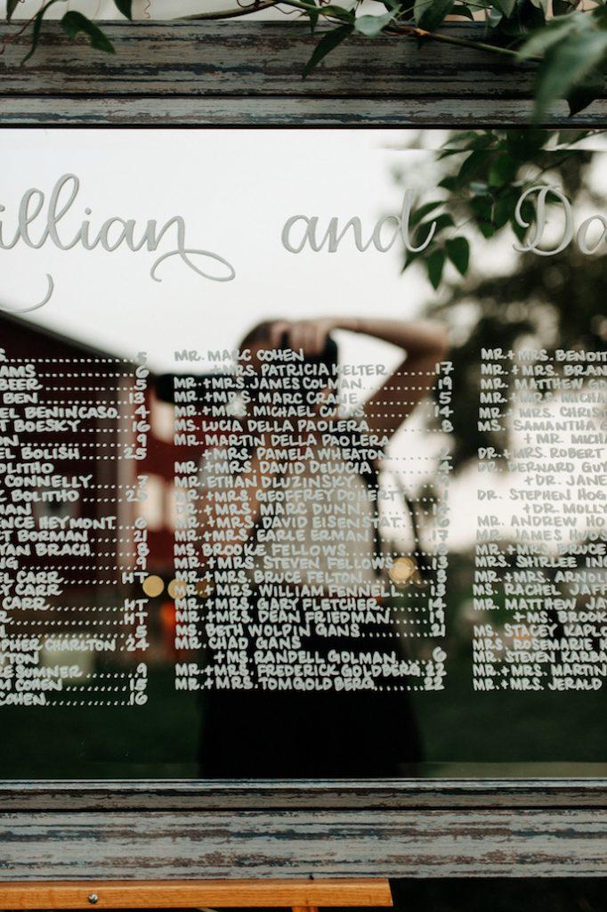 Farmhouse Chic Wedding - mirror seating chart - Leah E Moss