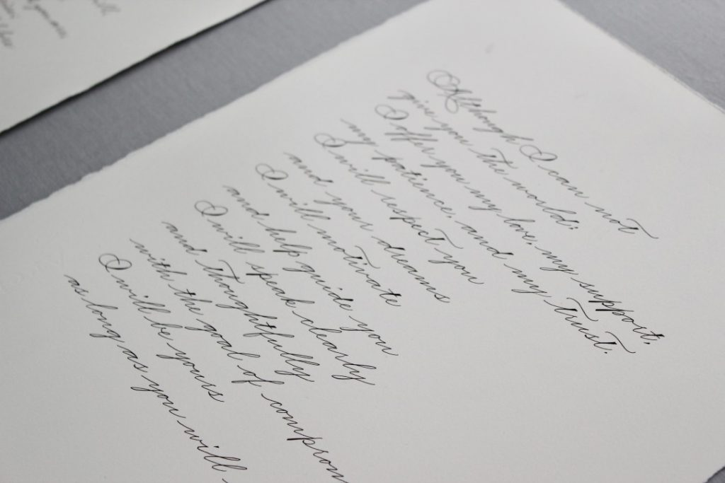 Wedding vows in calligraphy for paper first anniversary gift - Leah E. Moss Designs