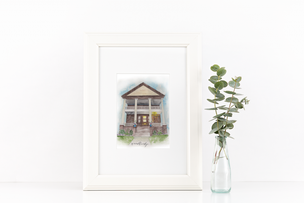 House illustration in watercolor - Leah E. Moss Designs
