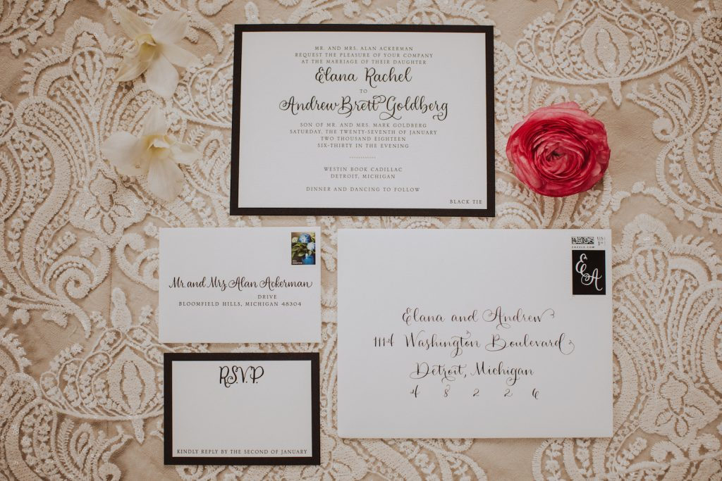 Black and white letterpress wedding invitation with calligraphy and gold envelope liner and lace - Leah E. Moss Designs