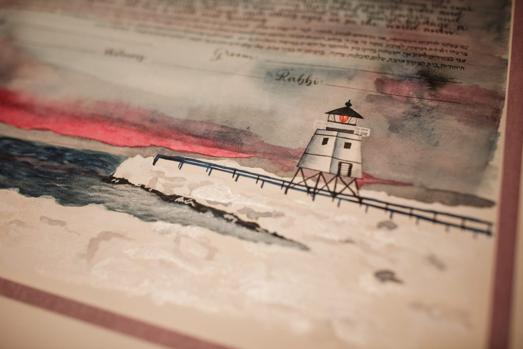 Watercolor and calligraphy custom ketubah with lighthouse from Charlevoix, Michigan - Leah E. Moss Designs