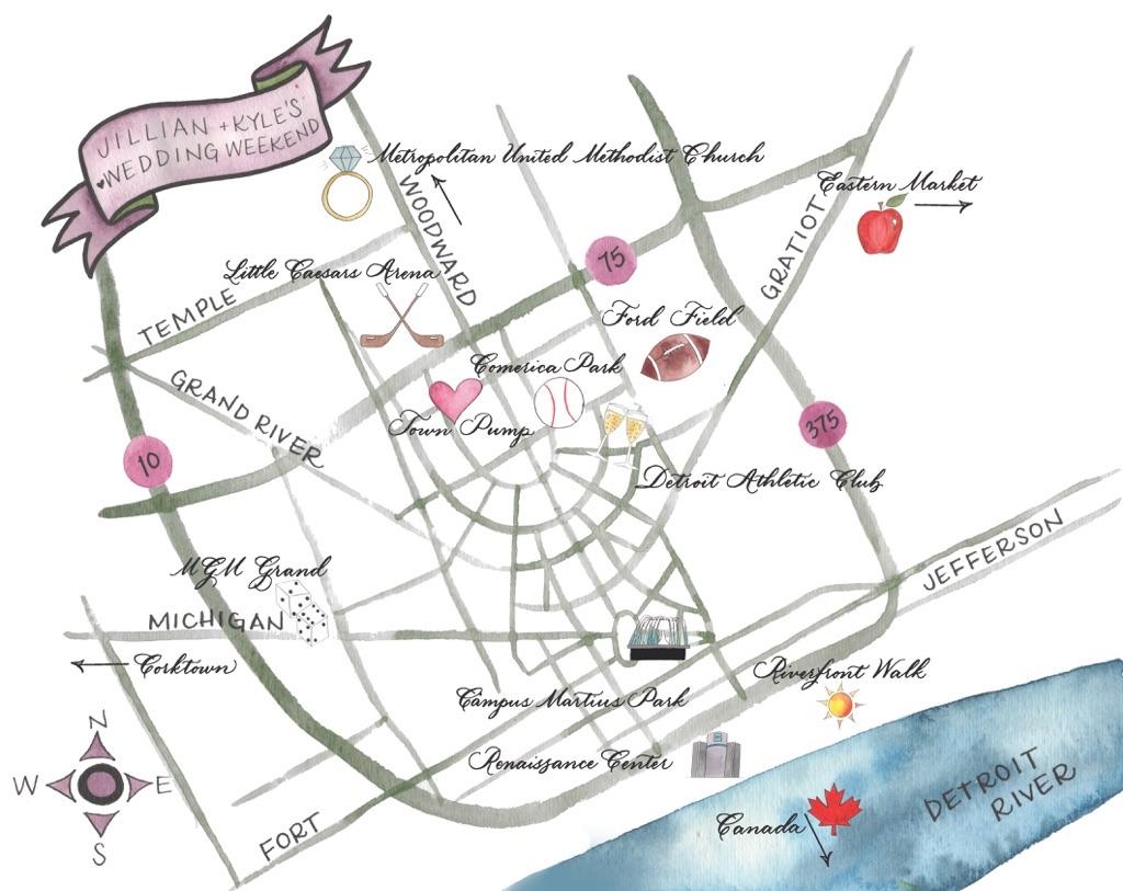 Watercolor illustrated map of Detroit, Michigan - Leah E. Moss Designs