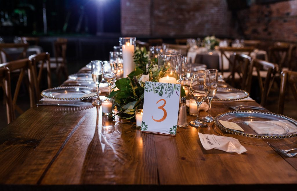 wedding reception table with up close table number