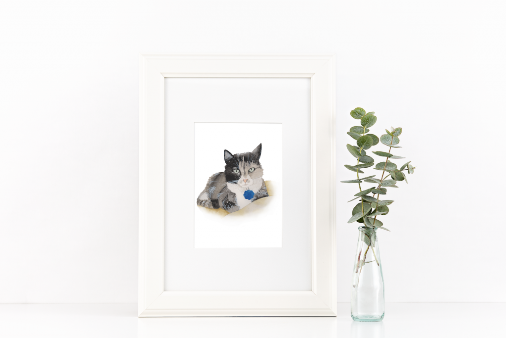 Cat watercolor illustration - Leah E. Moss Designs