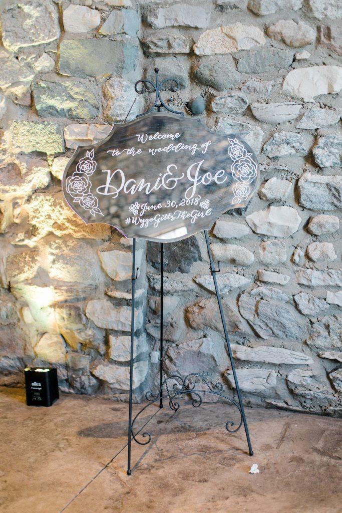 Mirror wedding welcome sign - Leah E. Moss Designs