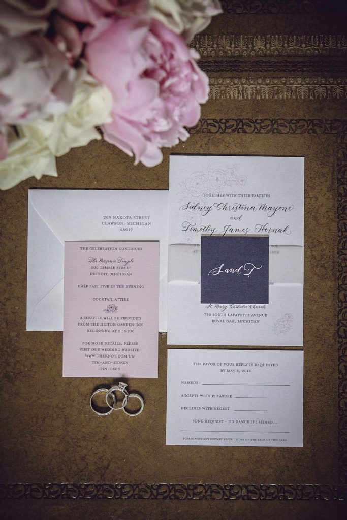 Navy and pink wedding invitation with modern calligraphy - Leah E. Moss Designs