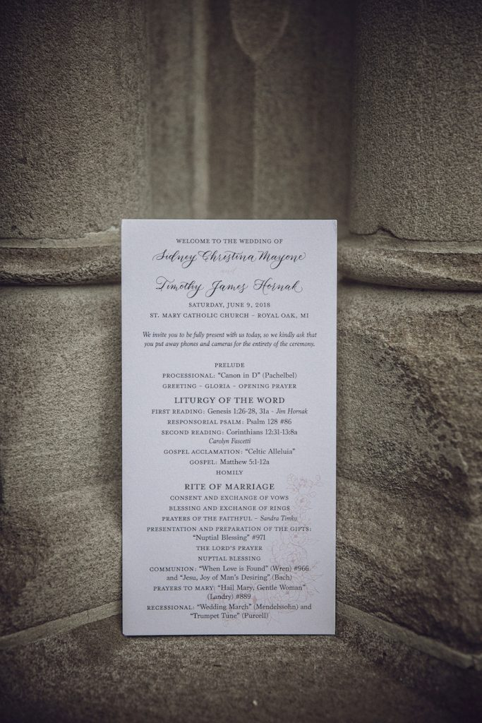 Wedding ceremony program with modern calligraphy - Leah E. Moss Designs