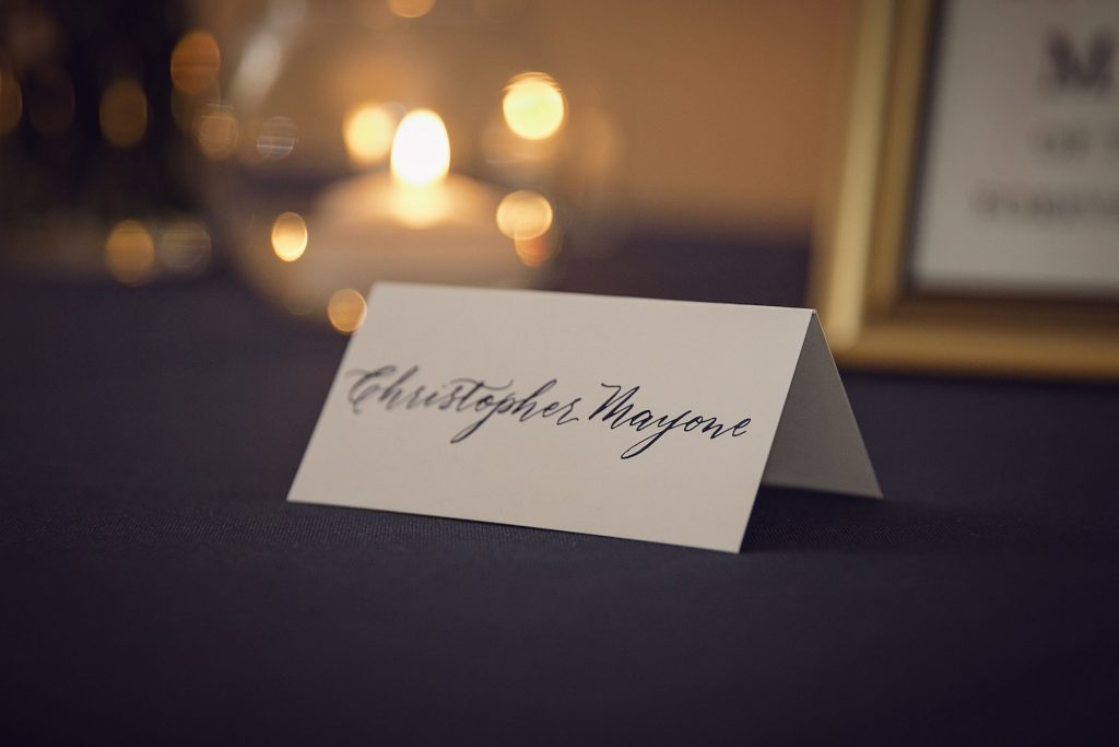 Memorial table name card in modern calligraphy - Leah E. Moss Designs