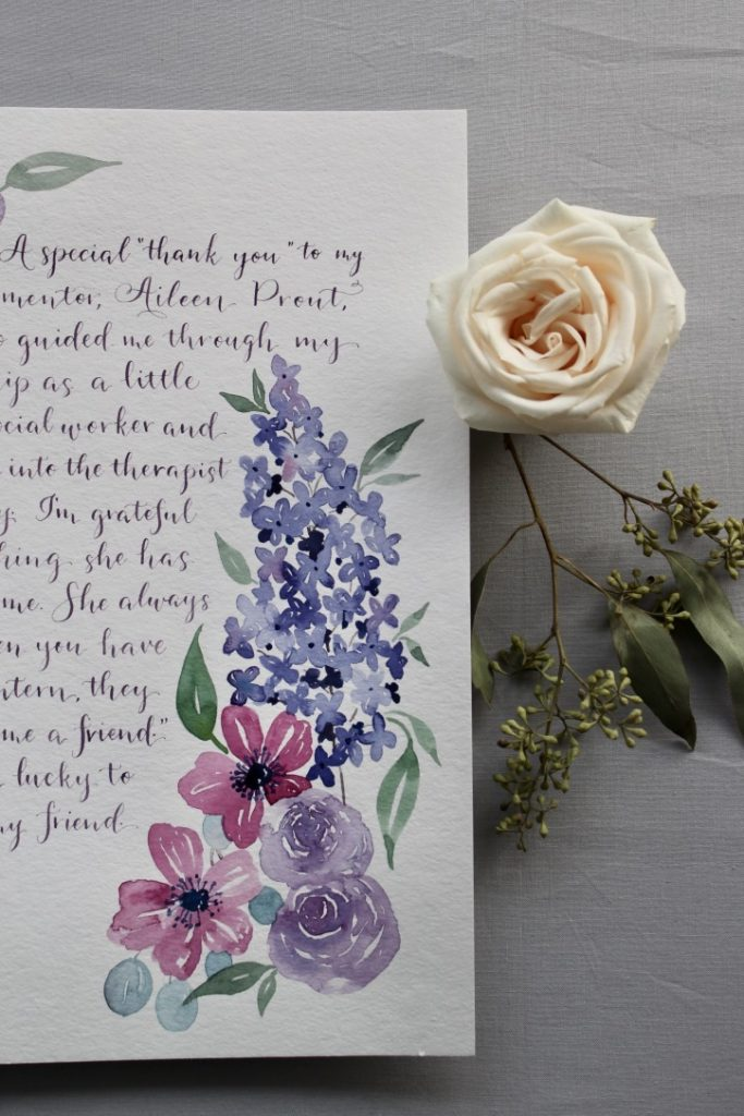 Watercolor florals and purple modern calligraphy for gift - Leah E. Moss Designs