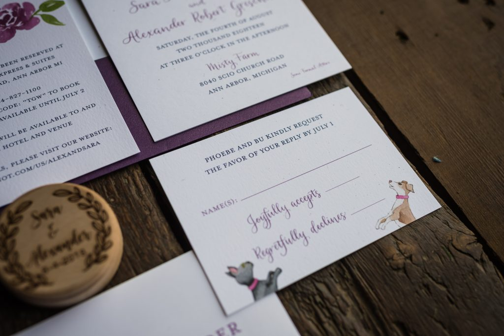 RSVP Card for wedding with dog and cat watercolor illustration - Leah E. Moss Designs