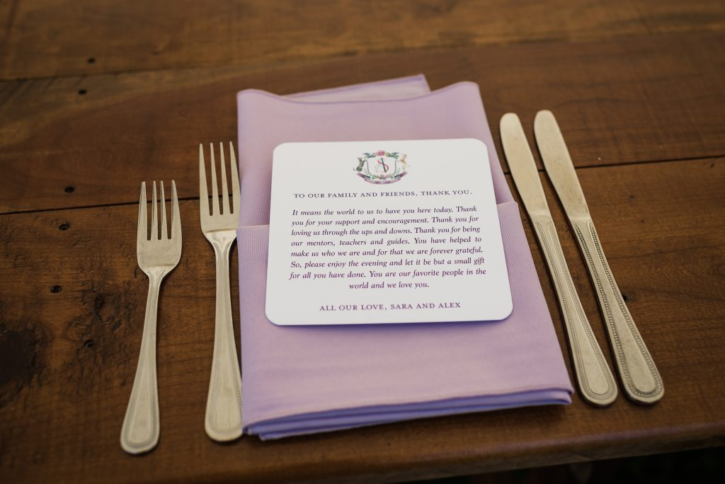 Wedding thank you note to guests with lavender napkin - Leah E. Moss Designs