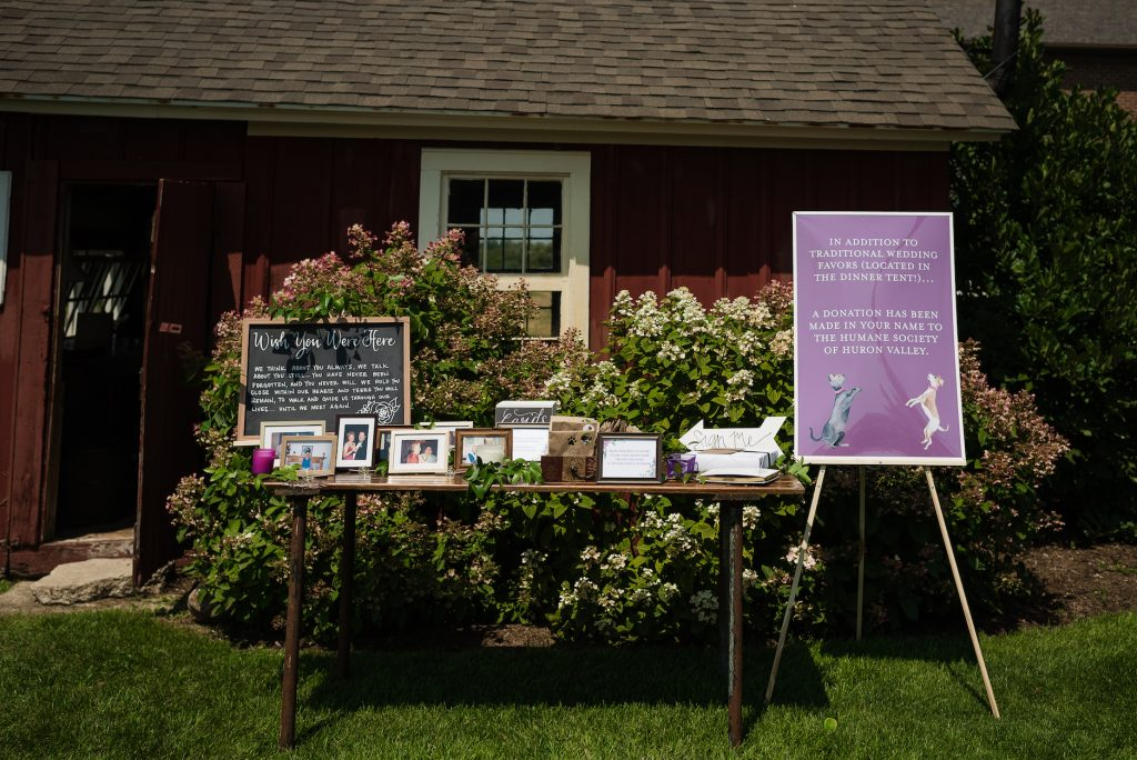 Memorial table chalkboard and donation sign for purple wedding - Leah E. Moss Designs