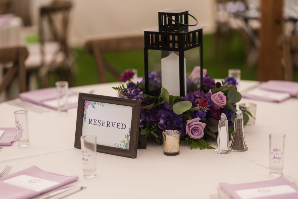 Reserved sign at wedding table - Leah E. Moss Designs