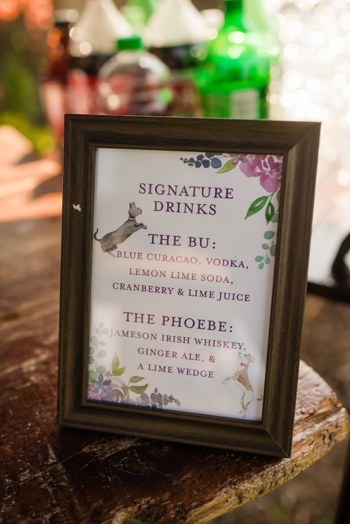 Wedding signature drink sign with dog and cat - Leah E. Moss Designs