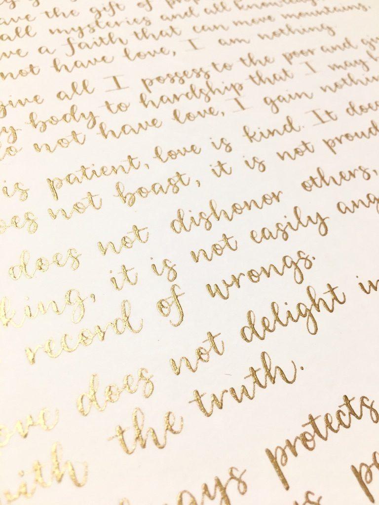 Gold modern calligraphy - Leah E. Moss Designs