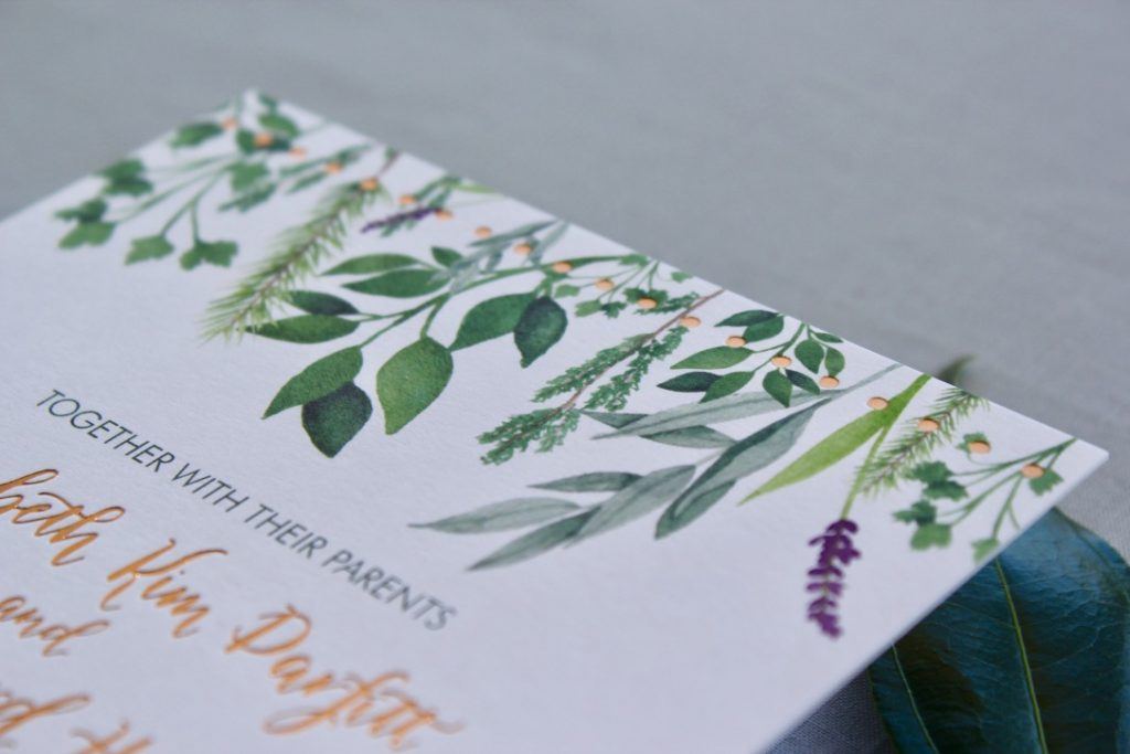 copper foil stamping and watercolor painting on wedding invitation