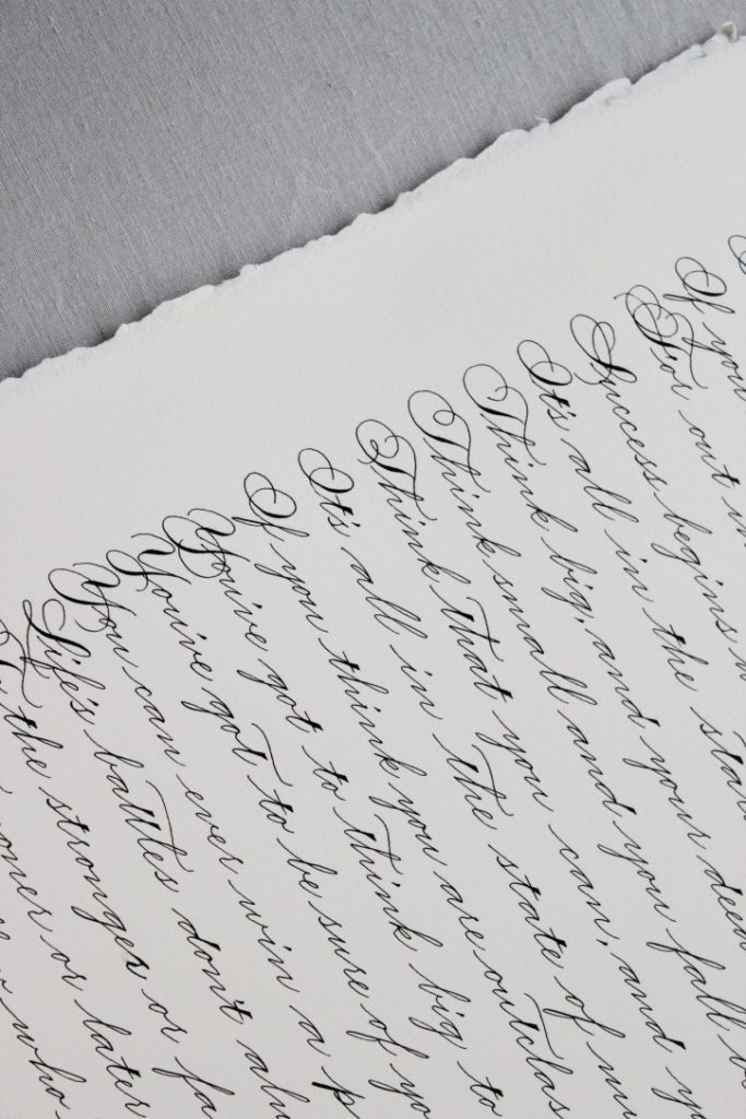 Spencerian traditional calligraphy poem - Leah E. Moss Designs