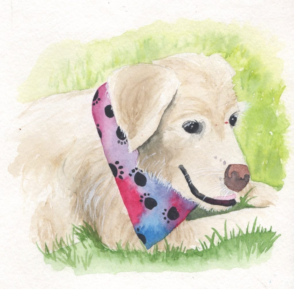 Pet portrait of golden retriever in watercolor - Leah E. Moss Designs
