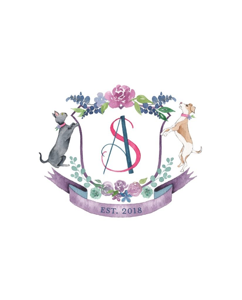 Wedding purple monogram crest with dog and cat - Leah E. Moss Designs