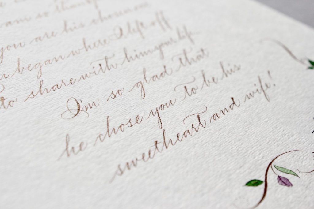 Wedding gift from mother in law to bride calligraphy poem - Leah E. Moss Designs
