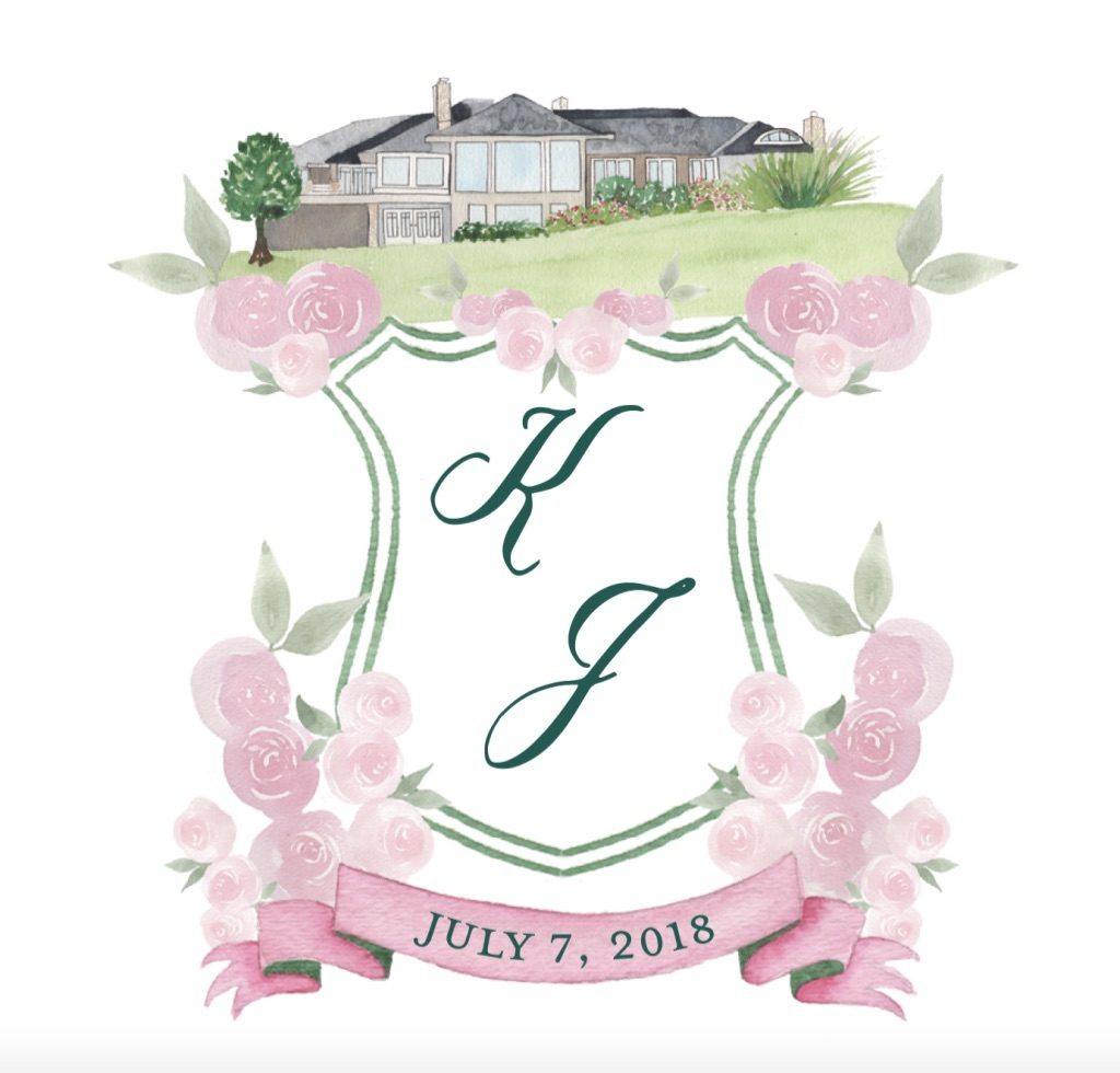 Wedding crest with watercolor florals and home illustration - Leah E. Moss Designs