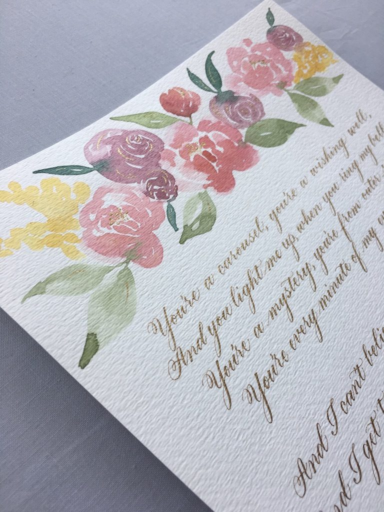 Song lyrics gold calligraphy with watercolor florals for first anniversary gift - Leah E. Moss Designs