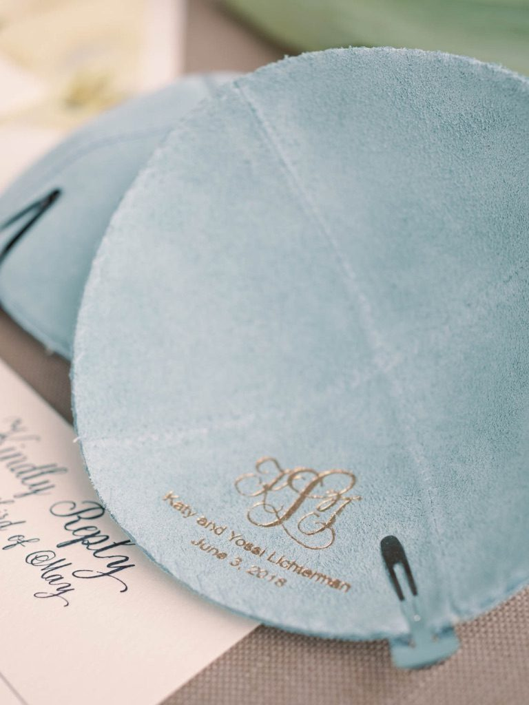 Light blue kippot with gold foil monogram for wedding